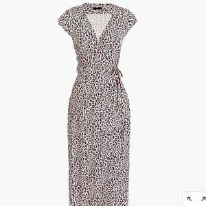 Midi wrap dress in soft leopard pink